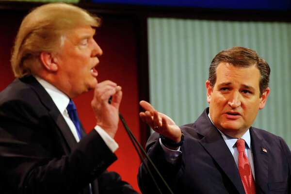 Donald Trump and Ted Cruz spar at a debate in March. Cruz was the darling of Texas' tea party; now his supporters must decide whether to campaign for, or even vote for, Trump.
