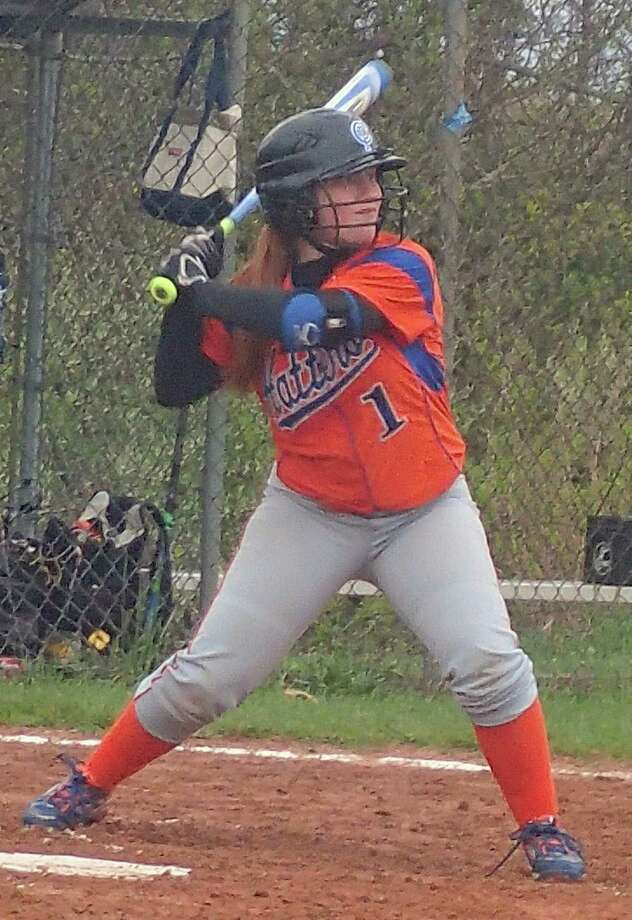 Danbury's Alyssa Timan had a single and a sacrifice bunt in the Hatters' 12-6 softball victory over Trinity Catholic at Danbury High School May 4, 2016. Photo: Richard Gregory / Richard Gregory