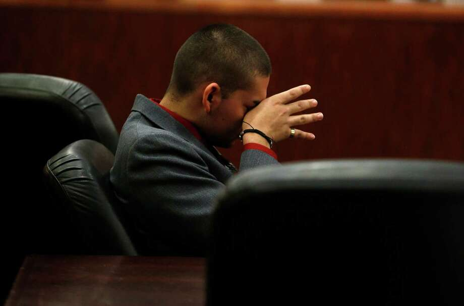 Eddie Herrera, 20, reacts to testimony during the punishment phase of his trial on Wednesday in the death of his prom date, Jacqueline Gomez, 17. Jurors sentenced Herrera to 25 years in prison.  Photo: Karen Warren, Staff / © 2016 Houston Chronicle