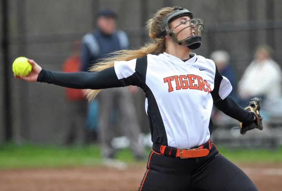 Ridgefield pitcher Kailey Westington (38)  during the girls high school softball game between St. Joseph and Ridgefield high schools, on Wednesday, May 4, 2016, at Ridgefield High School, in Ridgefield, Conn. Photo: H John Voorhees III / Hearst Connecticut Media / The News-Times
