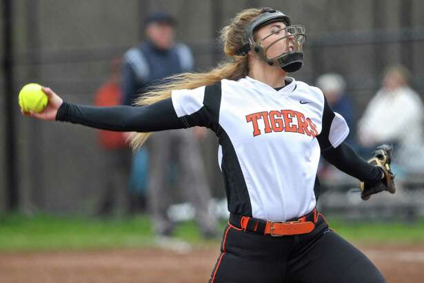 Ridgefield pitcher Kailey Westington (38)  during the girls high school softball game between St. Joseph and Ridgefield high schools, on Wednesday, May 4, 2016, at Ridgefield High School, in Ridgefield, Conn.