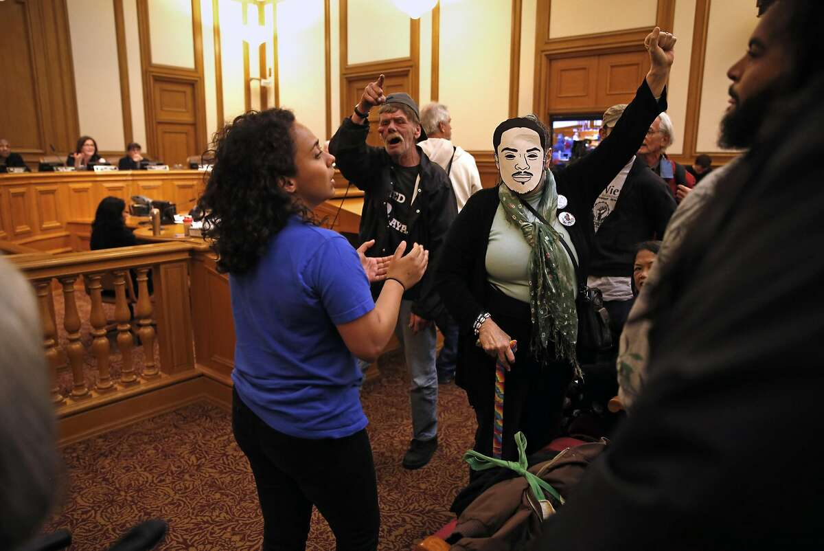 Protestors disrupt San Francisco Police Commission meeting at City Hall in San Francisco, Calif., on Wednesday, May 4, 2016.