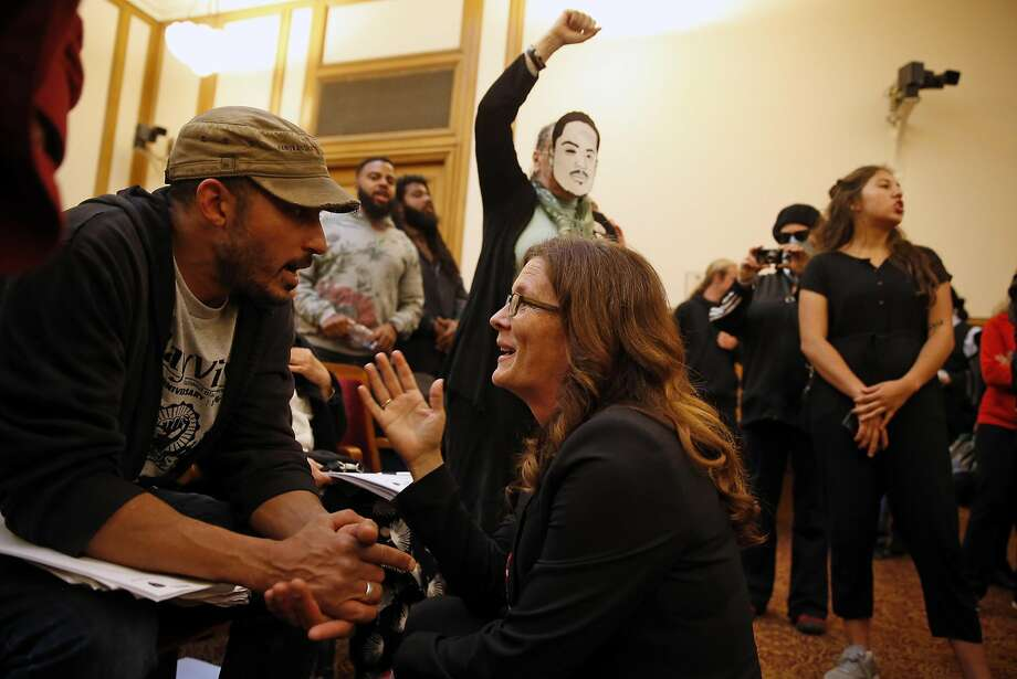 San Francisco Police Commission President Suzy Loftus pleads with protestors to stop interrupting meeting at City Hall in San Francisco, Calif., on Wednesday, May 4, 2016. Photo: Scott Strazzante, The Chronicle
