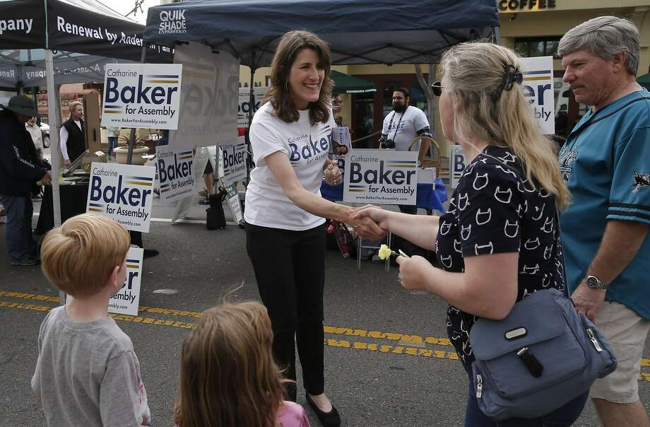 Assemblywoman Catharine Baker, R-San Ramon, campaigns Wednesday at the Pleasanton Street Fair amid a Democratic challenge. Photo: Michael Macor, The Chronicle