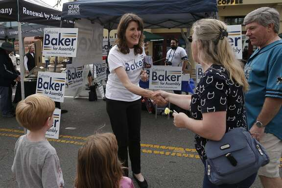Assemblywoman Catharine Baker,16th District, campaigns for re-election during the 1st Wednesday Street Fair in Pleasanton, California, on Wed. May 4, 2016.