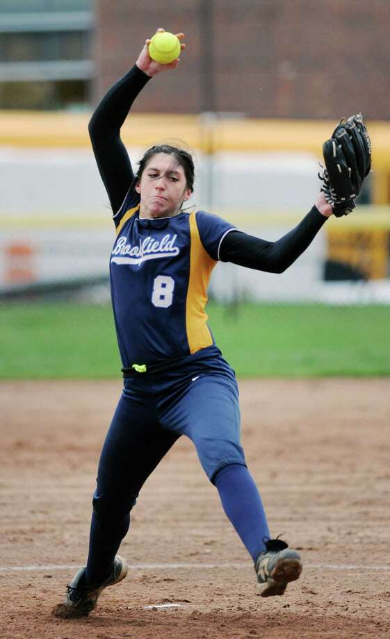 Brookfield pitcher Samantha O'Brien in action during the girls high school softball game between Greenwich High School and Brookfield High School at Greenwich, Conn., Wednesday, April 6, 2016. Photo: Bob Luckey Jr. / Hearst Connecticut Media / Greenwich Time