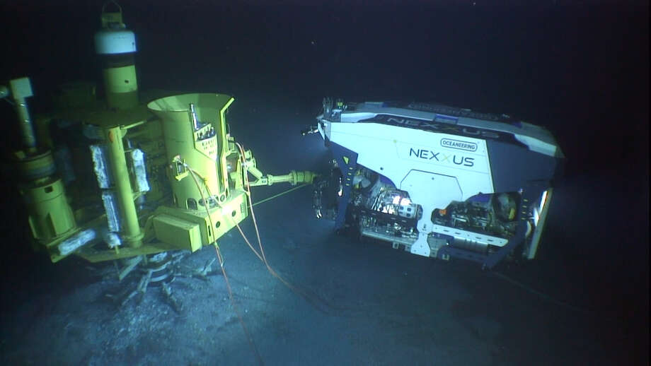 The NEXXUS ROV working off the Olympic Intervention IV vessel in the Gulf of Mexico Photo: Oceaneering