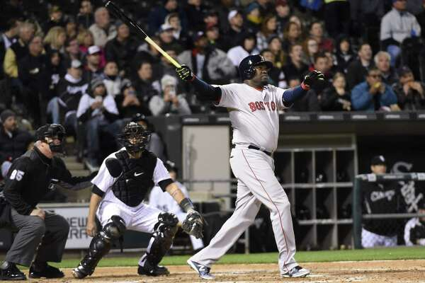CHICAGO, IL - MAY 04: David Ortiz #34 of the Boston Red Sox watches his two-run homer against the Chicago White Sox during the fifth inning on May 4, 2016 at U. S. Cellular Field in Chicago, Illinois. (Photo by David Banks/Getty Images) ORG XMIT: 607676975
