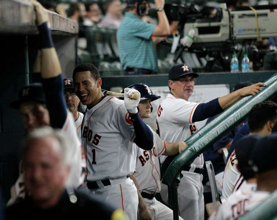May 4: Astros 16, Twins 4Houston Astros shortstop Carlos Correa (1) laughs at his teammates in the dugout in the eighth inning. Photos of game three between Houston Astros and Minnesota Twins on Wednesday, May 4, 2016, in Houston. Houston won the game 16-4. Photo: Elizabeth Conley, Houston Chronicle / © 2016 Houston Chronicle