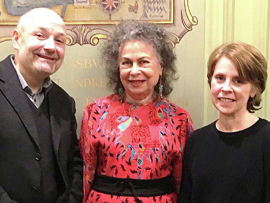 """Winners of the writing contest sponsored by the Fairfield Public Library as past of its """"One Book, One Town"""" program are, from right, Susan Mudd, first place; Alice Katz, second place, and John Hanninen, third place. Photo: Contributed Photo / Fairfield Citizen"""