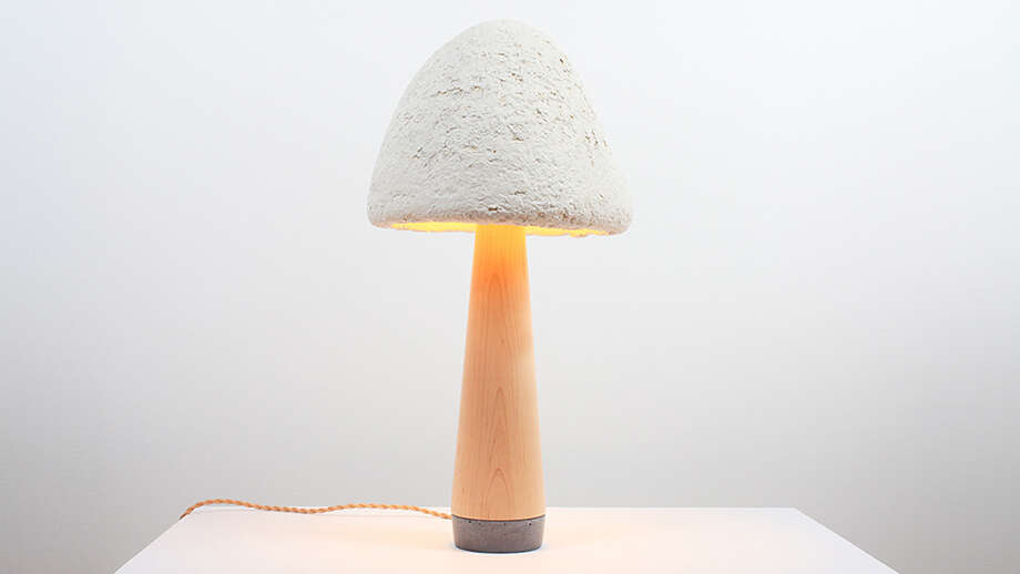 Danielle Trofe uses Ecovative's Grow-It-Yourself to create her line of MushLume lights.  (Photo from interiors.ecovativedesign.com/)