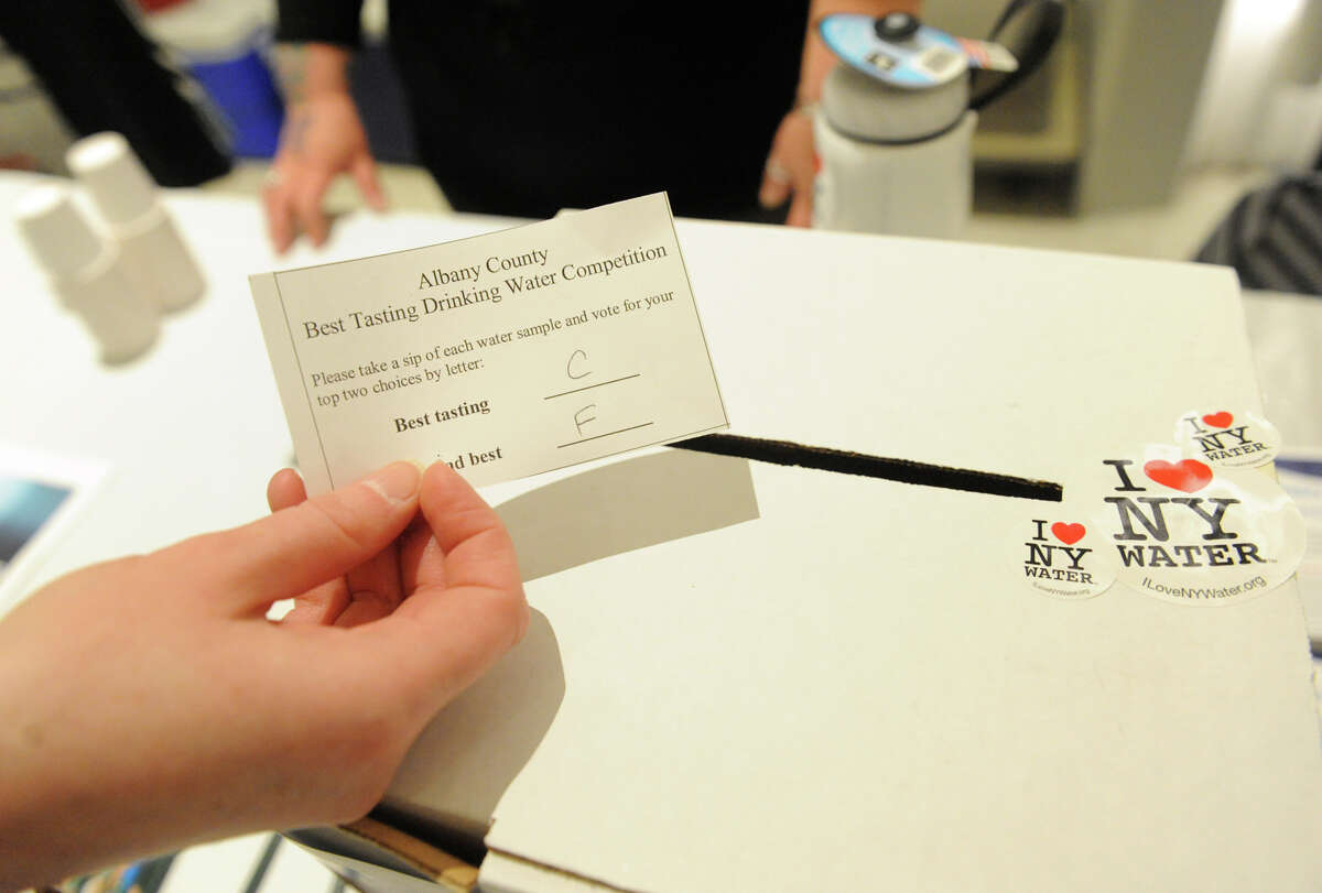 The Albany County Best Drinking Water of 2015 taste test at the Empire State Plaza Concourse on Thursday May 7, 2015 in Albany, N.Y. (Michael P. Farrell/Times Union)