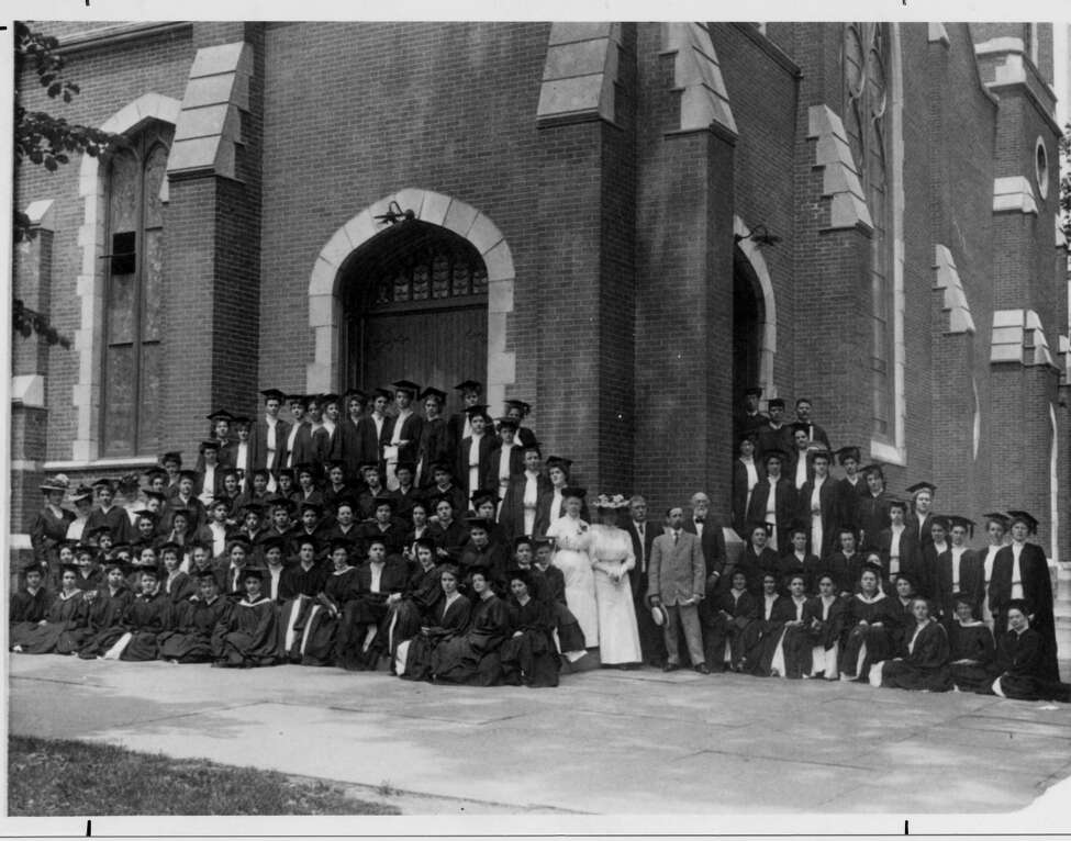 2. Between 1906 and 1909 the State Normal College was housed at a number of local churches. Pictured above is the graduating class of 1907 outside Trinity Methodist Church at Lark and Lancaster Streets where temporary classes were held after the fire of 1906.