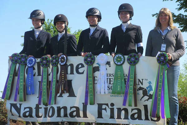 The Cavalier Farm Upper School Hunt Seat Team in New Milford recently placed sixth out of the top 20 teams in the country at the IEA National Finals held at the Kentucky Horse Park. The event was held April 20-24. Shown above are, from left to right, Alycia Petrauskas, Jordan Guilmart, Chelsea LeMoine, Annie Fournier and coach Cheryl Lemoine.