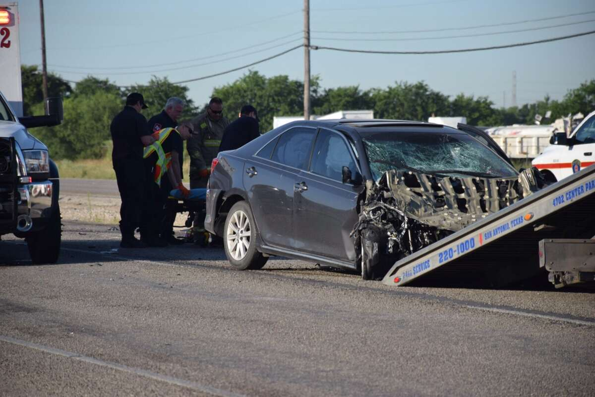 San Antonio authorities are investigating a rollover crash on the northbound lanes of Highway 16 south of Loop 410 that sent three people to the hospital Thursday May 5, 2016.