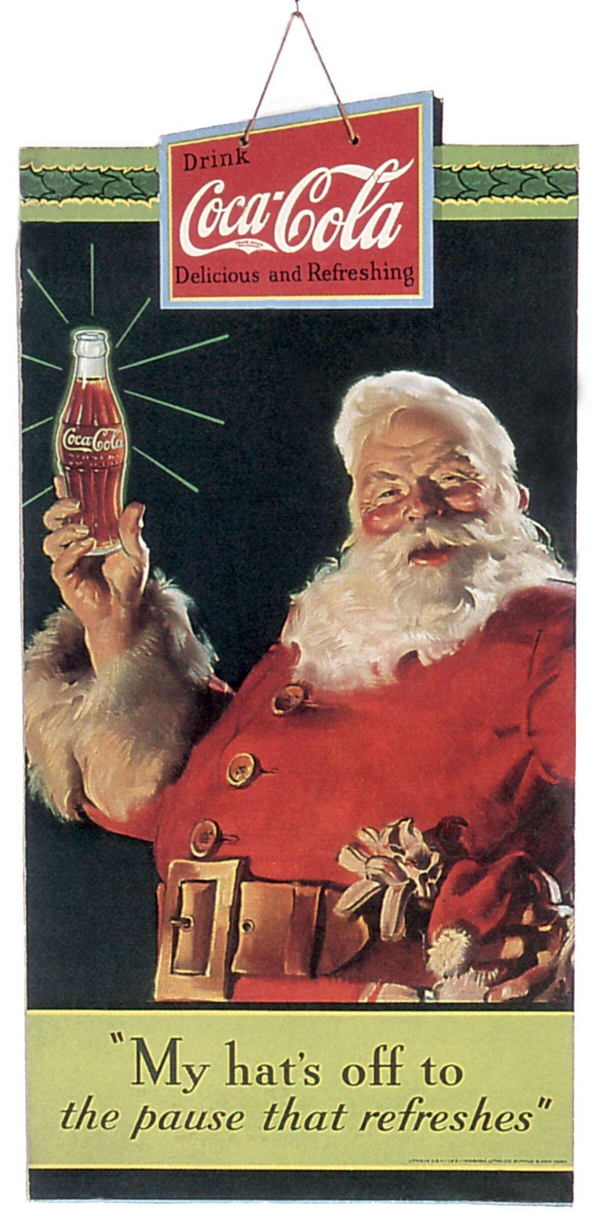 1934: Publicity of Christmas for the soda Coca-Cola, publishing in 1934 and realized by Haddon Sundblom who works for the company from 1931 to 1960.