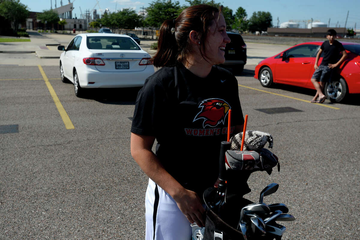 Lamar golfer Felicia Sauceda laughs as the team prepares to leave for Bryan to compete in the NCAA regionals on Tuesday afternoon. Photo taken Tuesday 5/3/16 Ryan Pelham/The Enterprise