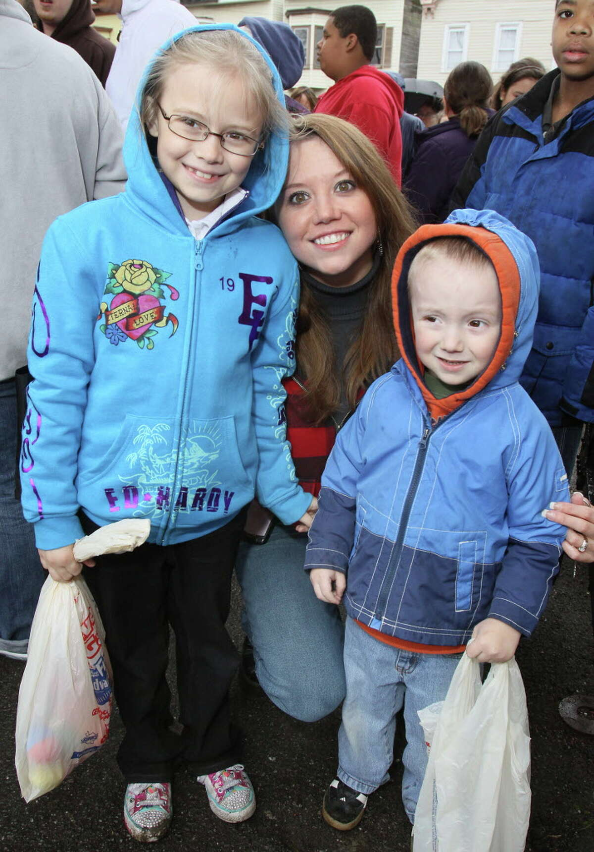 Albany, NY - April 23, 2011 - (Photo by Joe Putrock/Special to the Times Union) - Jessica Blain-Lewis(center) brought her children Hannah(left) and Owen(right) to the Anti-Gun Violence Egg Hunt.