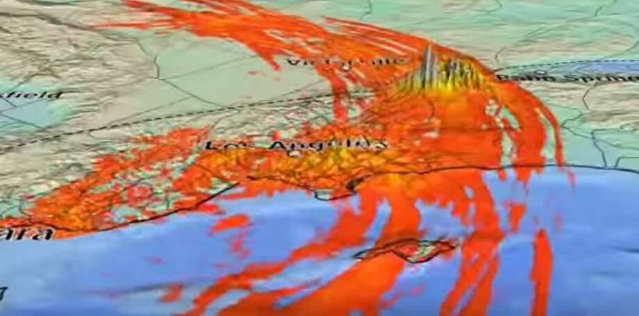 This image was taken from a Southern California Earthquake Center simulation of the movement of a major earthquake along the San Andreas fault in Southern California.