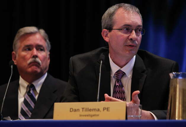 U.S. Chemical Safety Board lead investigator Dan Tillema presents interim recommendations regarding their investigation of DuPont's La Porte chemical plant Hilton Americas hotel in Houston, Wednesday, Sept. 30, 2015. Photo: Mark Mulligan, Houston Chronicle / © 2015 Houston Chronicle