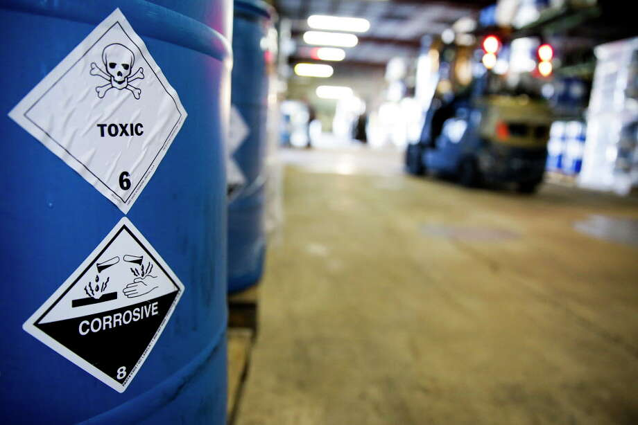 A barrel of toxic material is stored for transport at Palmer Logistics Wednesday, Nov. 25, 2015, in Houston. Photo: Michael Ciaglo, Houston Chronicle / © 2015  Houston Chronicle