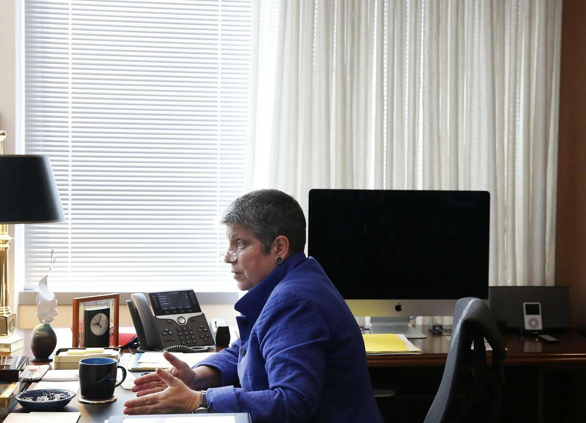 University of California President Janet Napolitano responds to questions during a Chronicle interview in her office May 5, 2016 in Oakland, Calif.
