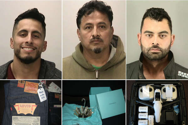 San Francisco police arrested three suspects on April 28 on suspicion of possession of stolen property after officers raided their Oakland home.