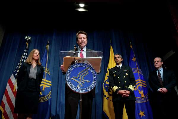 Food and Drug Administration Commissioner Dr. Robert Califf, center, accompanied by Department of Health and Human Services Secretary Sylvia Burwell, left, US Surgeon General Dr. Vivek Murthy, second from right, and Food and Drug Administration Center for Tobacco Products Director Mitch Zeller, right, speaks at a news conference at the Hubert H. Humphrey Building in Washington, Thursday, May 5, 2016, to announce new regulation extending the FDA's authority to all tobacco products including e-cigarettes. (AP Photo/Andrew Harnik)
