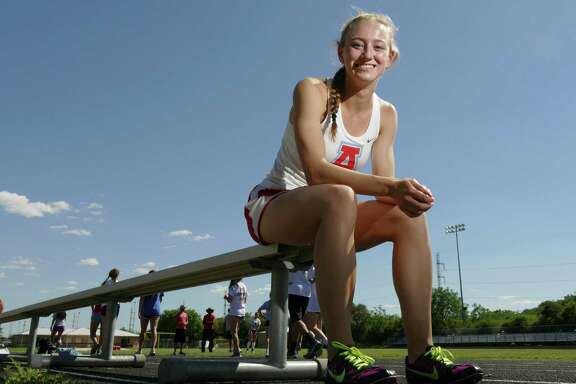 Brittany Parker of Antonian, posing for a potrait on May 4, 2016, is headed to the TAPPS 5A state track and field championships in Waco to compete in the 400 and 800 meters.