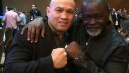 """""""Jesse"""" James Leija and Azumah Nelson pose at at World Boxing Council convention in Las Vegas in 2014."""