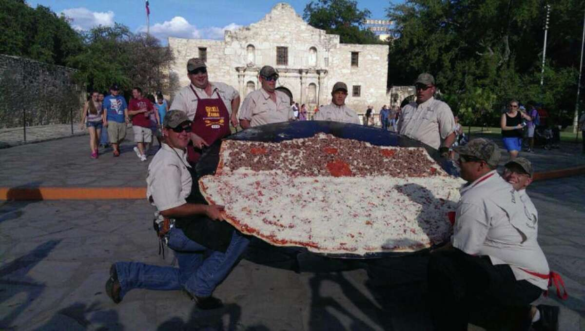 Dirt Road Cookers Got $1,200 to spare? Order a pizza measuring 12 feet in diameter from this Hondo-based pizza provider. Dirt Road Cookers also offer 8-foot pizzas for $800. As an appetizer, perhaps.