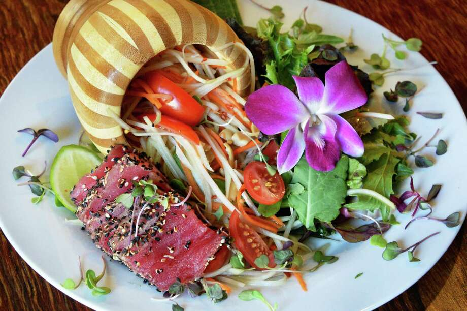 Som Tum ( papaya salad) with seared Ahi tuna at TapAsia on Lark Street Wednesday April 20, 2016 in Albany, NY.  (John Carl D'Annibale / Times Union) Photo: John Carl D'Annibale / 10036244A