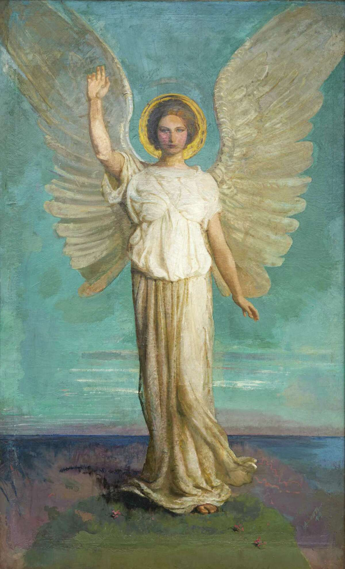Abbott Handerson Thayer, Angel of the Dawn, 1919, oil on canvas. St. Anselm Abbey School, Washington D.C. Gift of Mrs. Charles Plunket. (Courtesy Williams College Museum of Art)