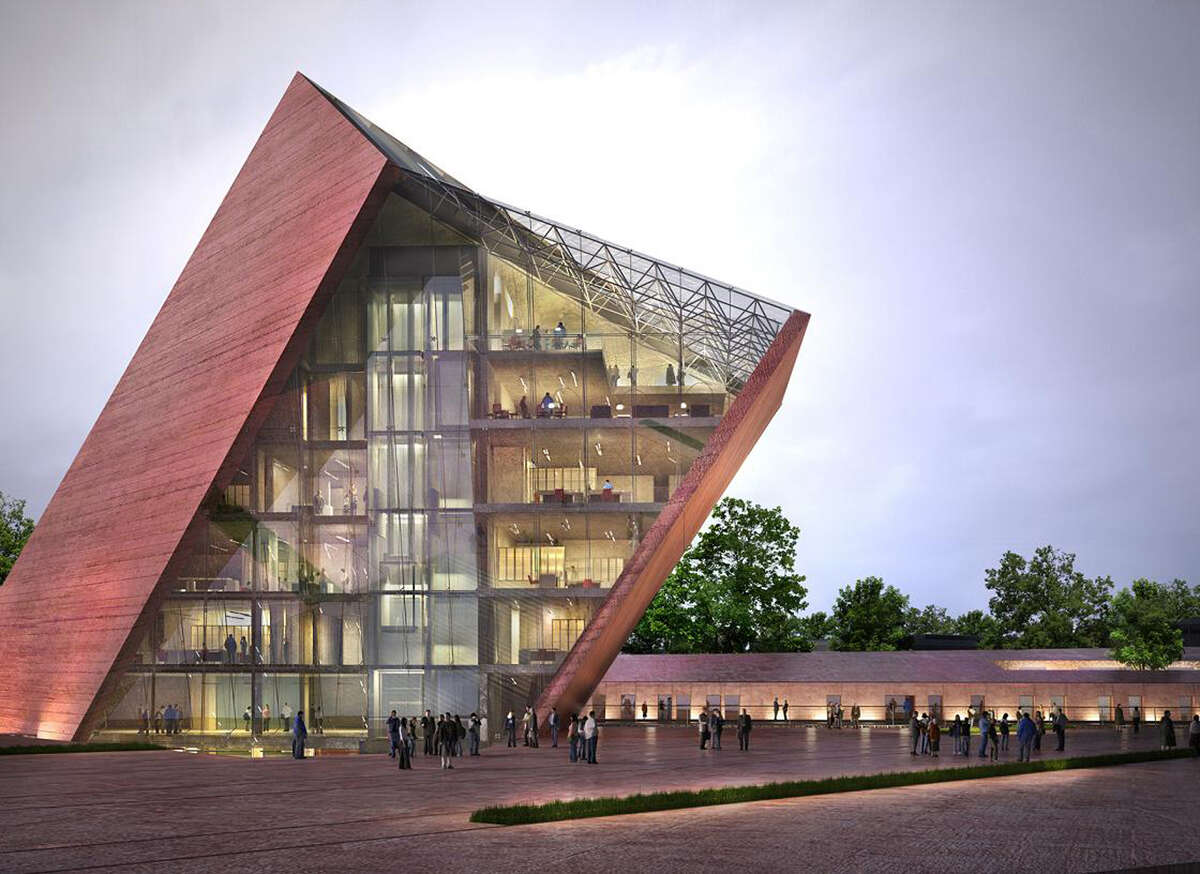 This architectural visualization provided by Studio Architektoniczne Kwadrat in Gdynia, Poland, shows how the Museum of the Second World War in Gdansk, Poland, is projected to look after its completion. The fate of the museum, which was scheduled to open in early 2017, is now uncertain after the Polish government has taken steps that could see the whole project scrapped. The government doesn't like it because it objects to its international approach and feels it is not Polish enough. (Krzysztof Droszcz/Studio Architektoniczne Kwadrat via AP) ORG XMIT: WAR151