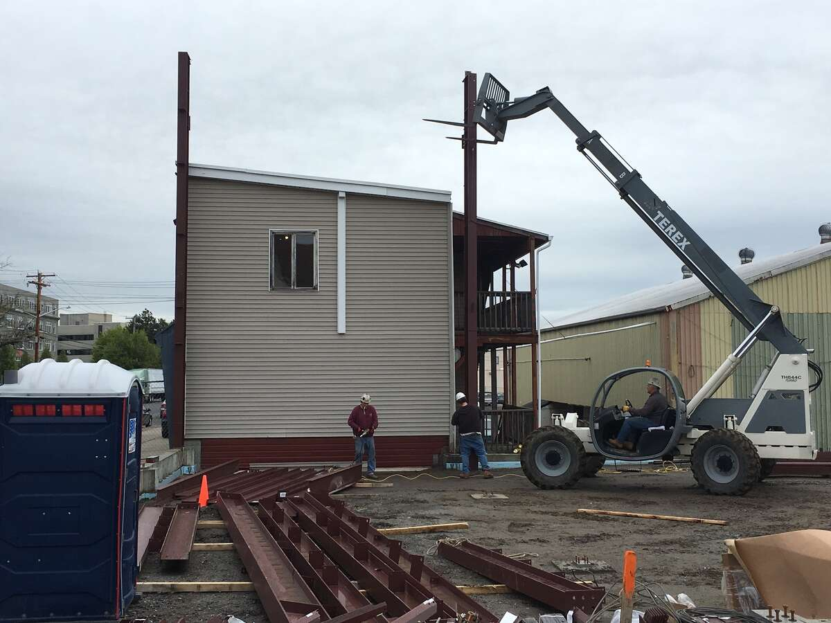 Construction is under way on a warehouse expansion at Wade's Dairy on Barnum Avenue in Bridgeport. The entire project should be completed by August 2016.
