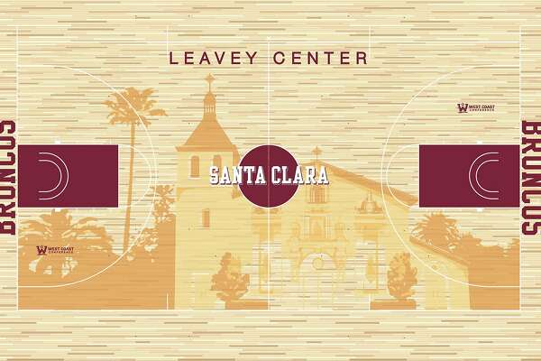 Santa Clara University's iconic Mission Church will be the focal point of a redesigned basketball and volleyball playing surface at the school's Leavey Center. The image was created by Air Jordan-designer Tinker Hatfield, Nike's vice president for design and special projects.�Construction of the new design, which was announced in a statement by the school Thursday, began in March and is expected to be completed in June.