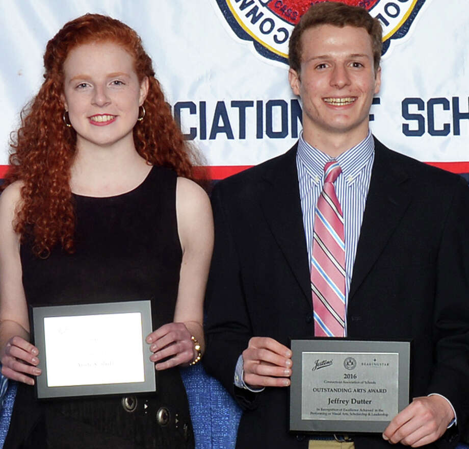 Aoife Cahill and Jeffrey Dutter, seniors at Fairfield Ludlowe High School, were among the students honored at the High School Outstanding Arts Awards Banquet hosted by the Connecticut Association of Schools. Photo: Contributed / Contributed Photo / Fairfield Citizen