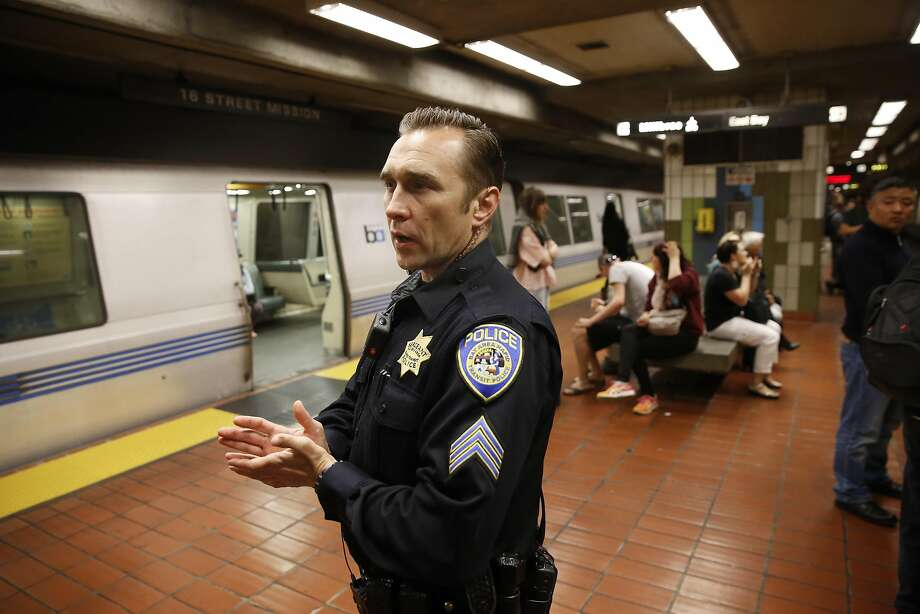 Michael Williamson, the BART sergeant at the 16th Street Station, patrols the Powell Street Station on Thursday. Photo: Michael Macor, The Chronicle