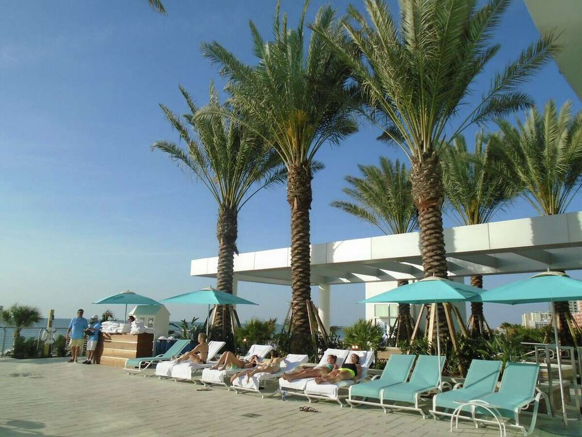 Visitors can see the Gulf of Mexico from the chic pool deck at new Opal Sands Resort.
