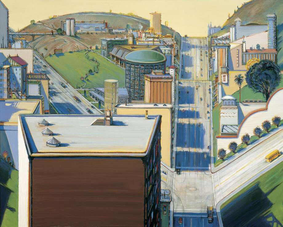 "Wayne Thiebaud's ""Valley Streets"" (2003) is at the San Francisco Museum of Modern Art. Photo: Courtesy Paul Thiebaud Gallery,"