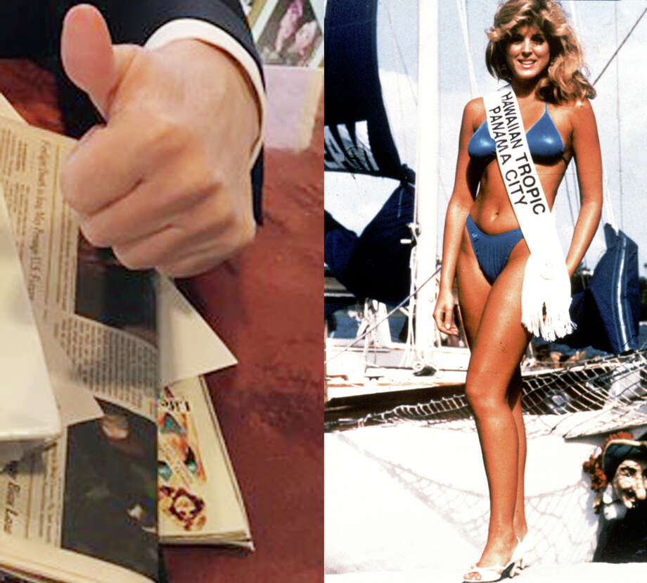 Marla Maples in 1985, right, and on Donald Trump's desk in 2016, left. Photo: @RealDonaldTrump,  Left,  Hulton Images,  Right