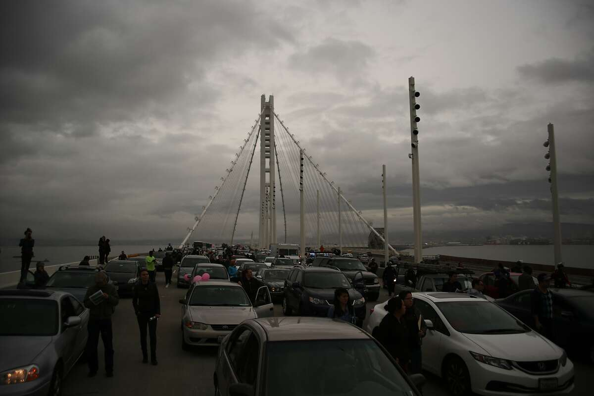 Traffic congestion is seen on the eastern span of the San Francisco-Oakland Bay Bridge as protestors block traffic during a demonstration against police brutality on the in Oakland, California on January 18, 2016.