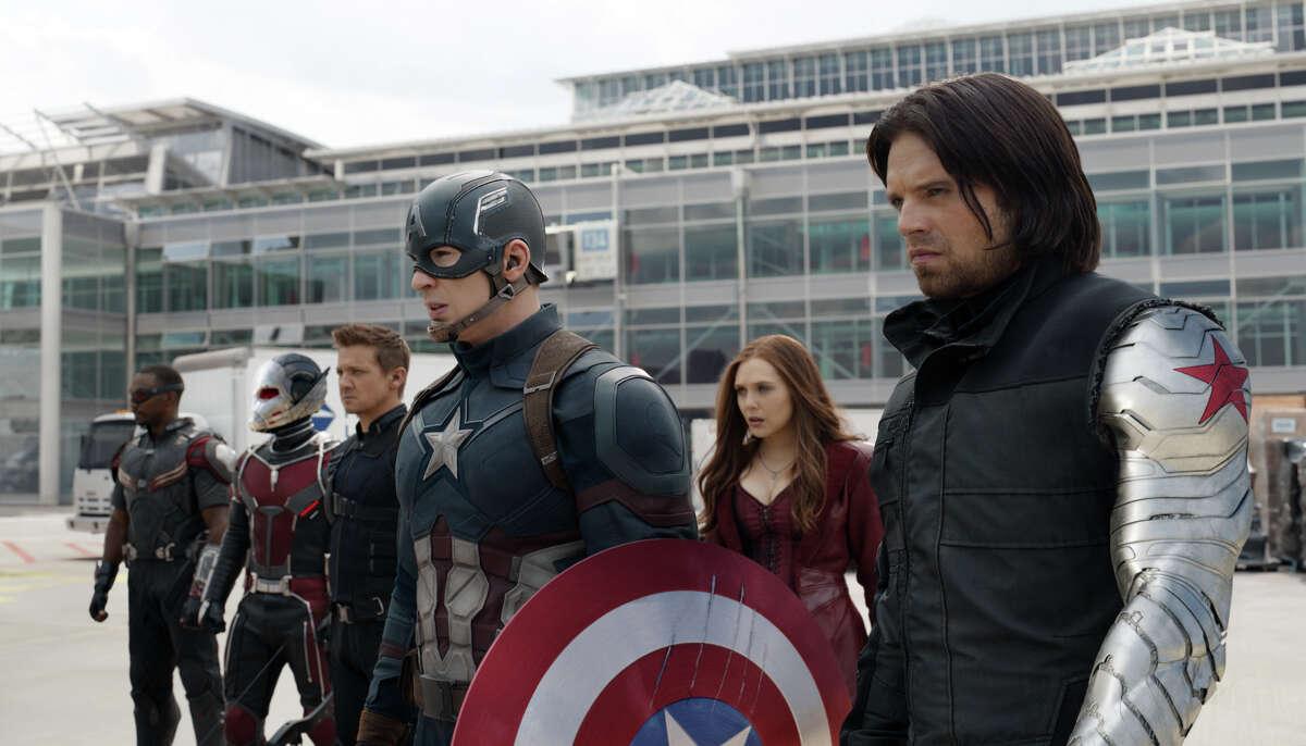 "In this image released by Disney, Anthony Mackie, from left, Paul Rudd, Jeremy Renner, Chris Evans, Elizabeth Olsen and Sebastian Stan appear in a scene from ""Captain America: Civil War."" (Disney-Marvel via AP)"
