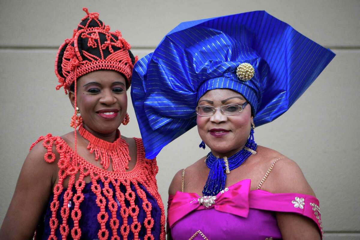 Mary Onime, left, and Lolo Chinwe Okoye show their formal traditional dresses at the ninth annual ceremony.