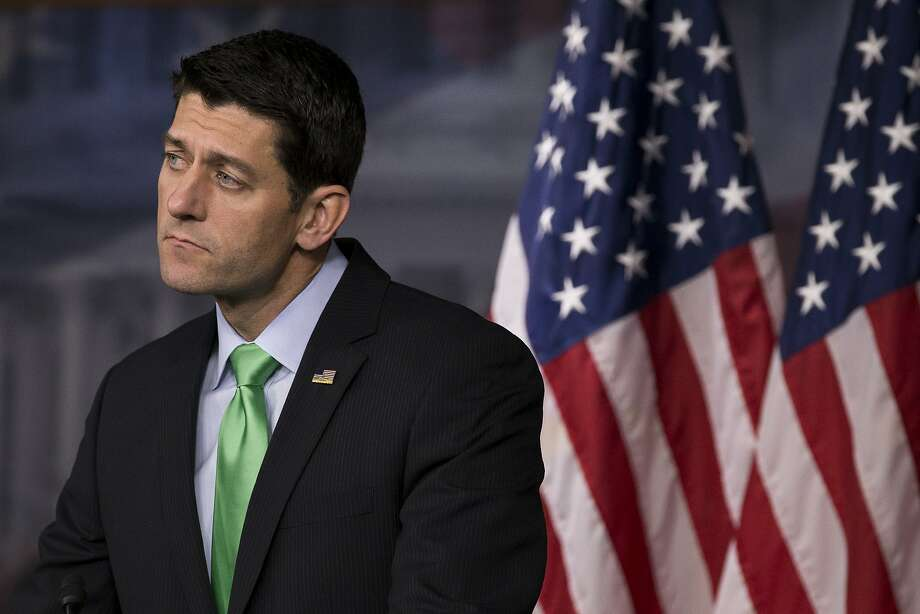 """House Speaker Paul Ryan fields questions at a weekly news conference on Capitol Hill in Washington, April 28, 2016. Ryan said on May 5 that he was not ready to endorse Donald Trump, the presumptive Republican presidential nominee, and said the party needed a """"standard-bearer"""" who embodied its ideals. Photo: DREW ANGERER, NYT"""