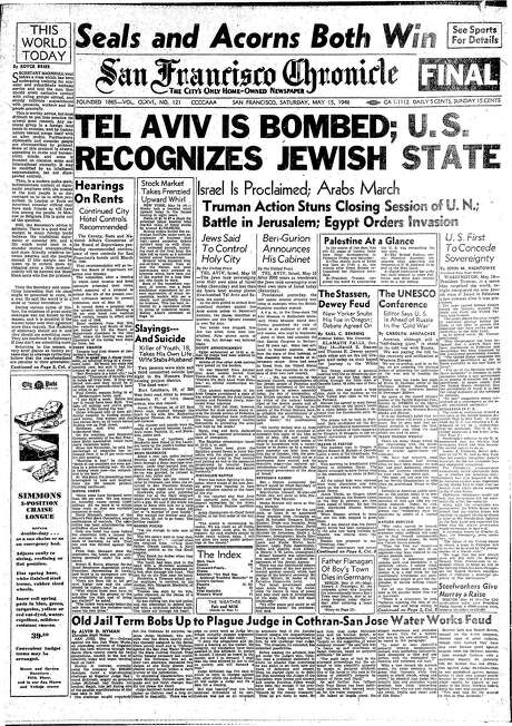 The Chronicle's front page from May 15, 1948, covers the bombing of Tel Aviv after the proclamation of Israel as the Jewish state.