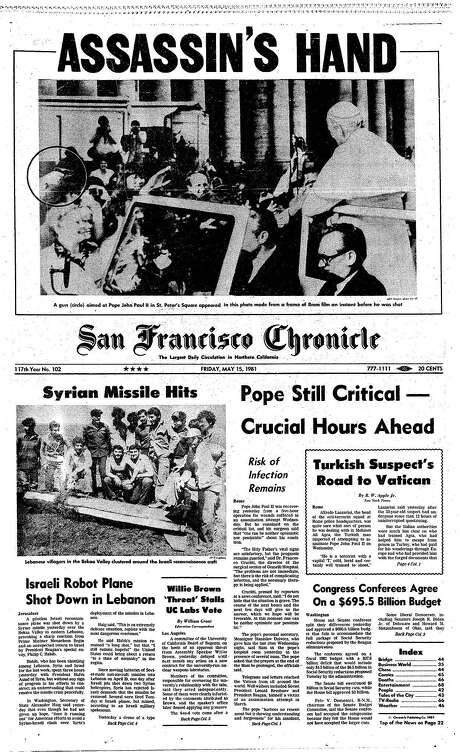 The Chronicle's front page from May 14, 1981, covers the assassination attempt of Pope John Paul II. Photo: The Chronicle, 1981
