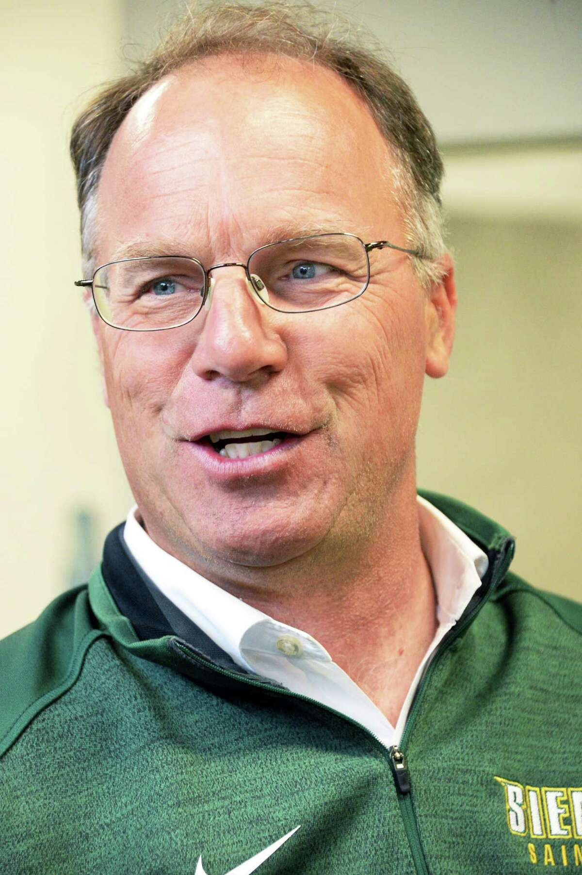 MAAC Champion Siena Men's Golf team head coach Steven Jensen talks about heading to Tucson, Arizona for the NCAA Tournament Thursday May 5, 2015 in Colonie, NY. (John Carl D'Annibale / Times Union)