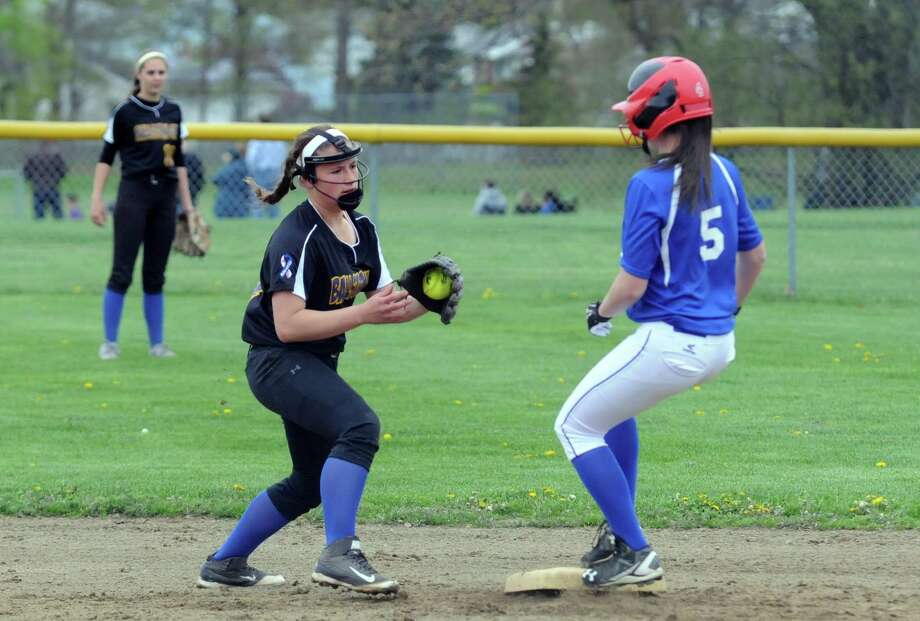 Shaker's Meg Kutey gets to second on a stand up double as Ballston Spa's Angelina Stile turns to make the tag during their girls high school softball game on Thursday May 5, 2016 in Colonie , N.Y. (Michael P. Farrell/Times Union) Photo: Michael P. Farrell / 20036478A