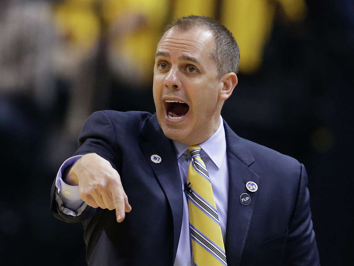 Indiana Pacers head coach Frank Vogel shouts instructions during the first half of Game 6 of an NBA first-round playoff basketball series against the Toronto Raptors, Friday, April 29, 2016, in Indianapolis. (AP Photo/Darron Cummings)